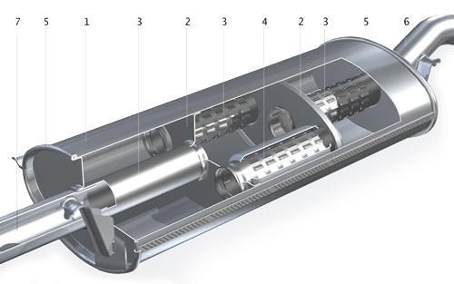 схема основного глушителя: