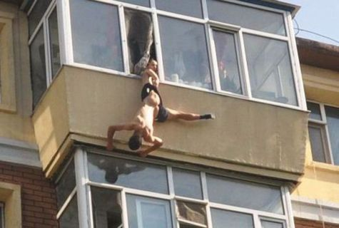 голые соседи на балконе